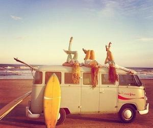 surfing, beach, and girls image