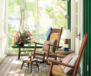 home, porch, and flowers image