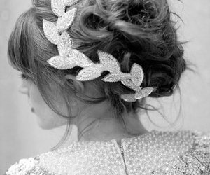 hair, hairstyle, and black and white image