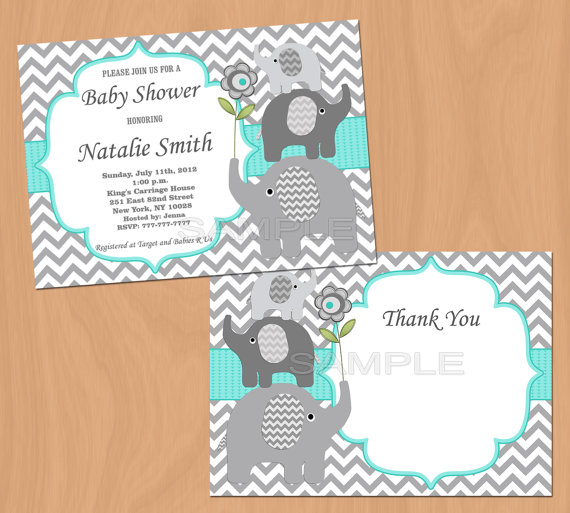 Baby Shower Invitation Elephant Baby Shower By Diymyparty On Etsy