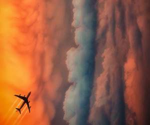 airplane, hipster, and clouds image
