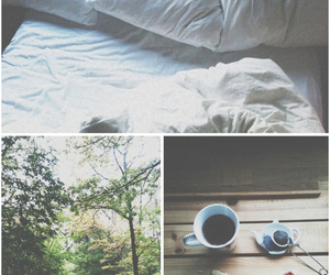 bed, coffee, and photography image