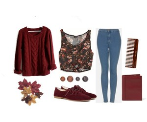 outfit, red, and fall image