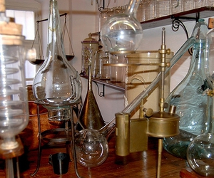 beakers, glassware, and lab image