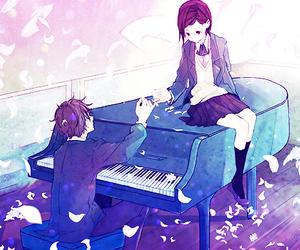 anime, piano, and couple image