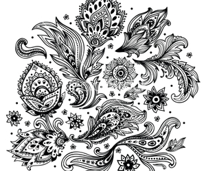 background, floral, and henna image