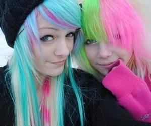 blue hair, green hair, and pink hair image