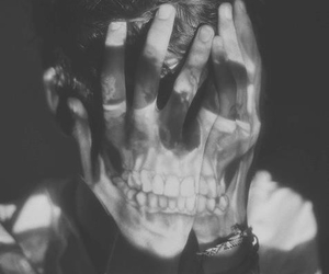 black and white, boy, and skull image
