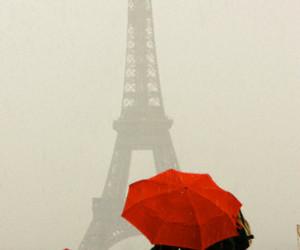 paris, red, and umbrella image