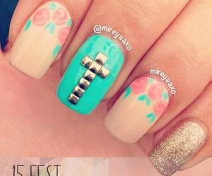 nails, cross, and nail art image