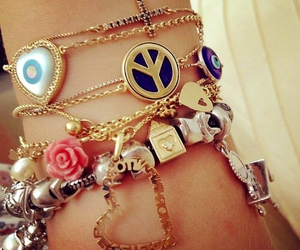 bracelet, peace, and heart image