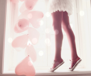 balloons, dress, and hearts image
