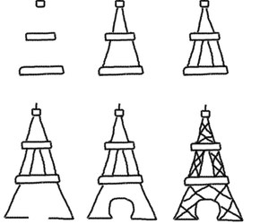 eiffel tower, paris, and how to draw image