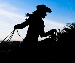 Cowgirl and horses image