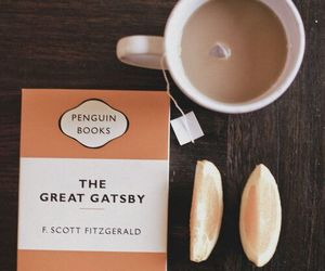 book, the great gatsby, and tea image