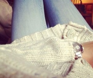 jeans, outfit, and pullover image