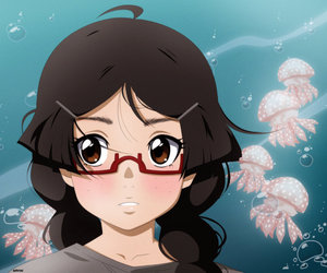 anime, glasses, and heart image
