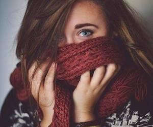 girl, eyes, and scarf image