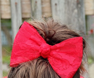 bow, hair, and red image