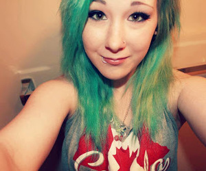 blonde, green hair, and cute image