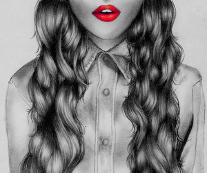 curly, girly, and red lips image