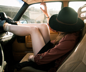 girl, vintage, and car image