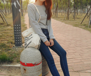 asian, converse, and denim image