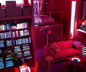 books, pink, and room image