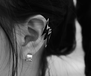 black and white and earrings image