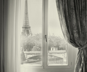 paris, window, and black and white image
