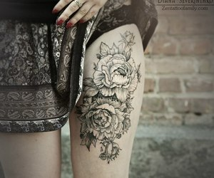 flowers, thigh tattoo, and ink image