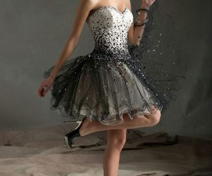 dress, Prom, and black and white image