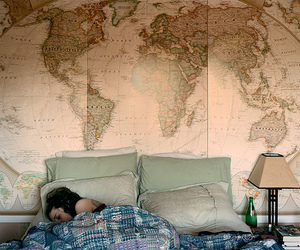 map, bed, and world image