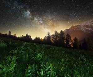 stars, nature, and mountains image