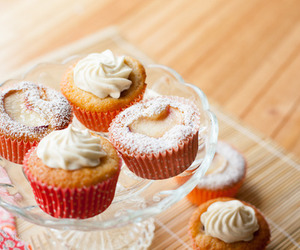cream, cupcakes, and food image