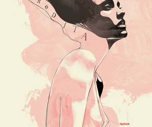 illustration, pink, and woman image