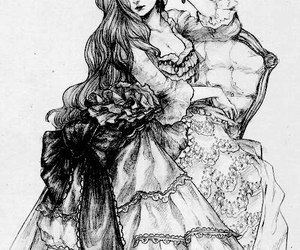 drawing, dress, and black and white image