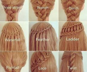fishtail, hair, and girl image