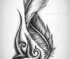 feather tattoo, drawin, and tattoos designs image