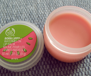 lip balm, watermelon, and pink image
