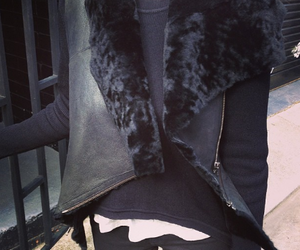 black, fur, and leather image