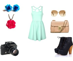 blue dress, fashion, and Polyvore image