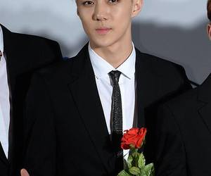 sehun and single red rose image
