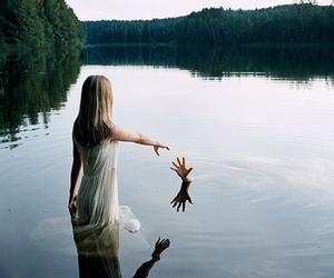 water, hand, and lake image