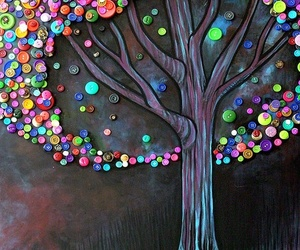 tree, buttons, and art image