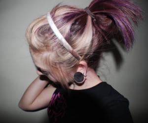 blonde, piercing, and violet image