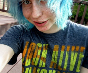 blue hair, scene, and emo boy image