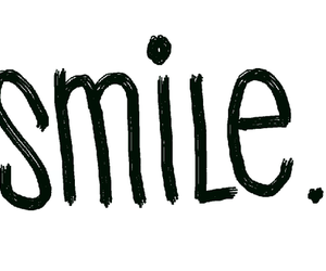 smile, text, and black and white image
