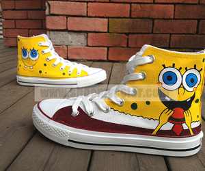 painted shoes, spongebob, and custom converse image