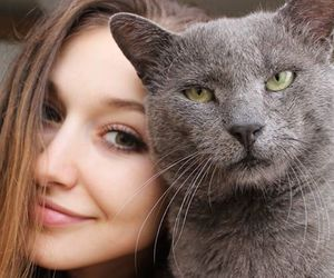 cat, funny, and girl image